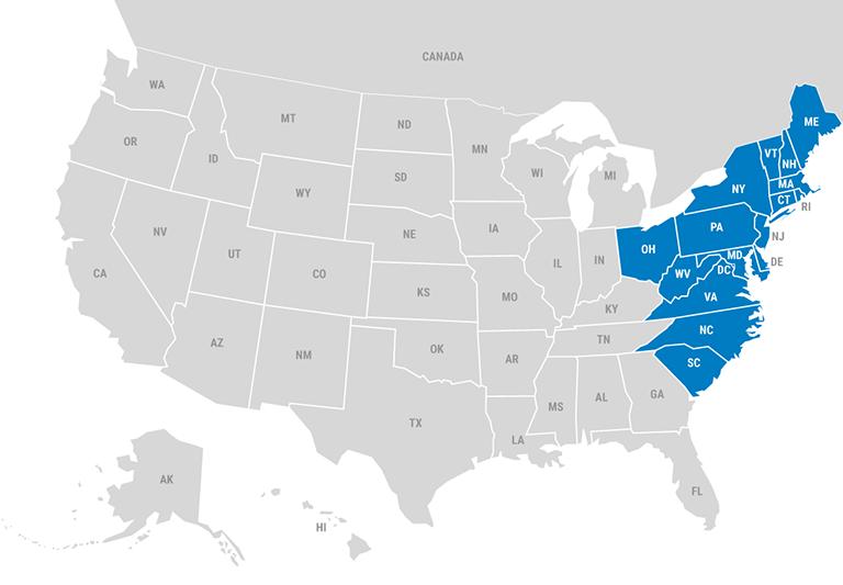 Sales Map - East region shown