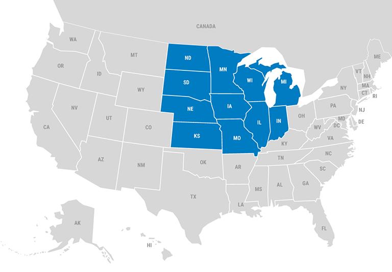 Sales Map - Mid-West region shown